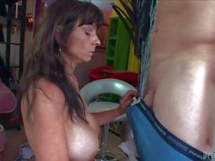 Big titted granny Sage Hughes gets mouth fucked
