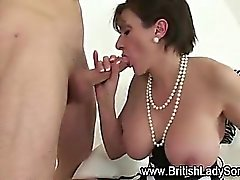Brit milf gets tits cummed on