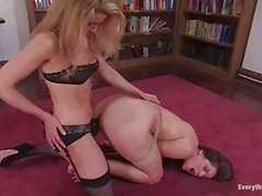 Mistress Matisse hogties Bobbi Starr and they have sex with a strap on on