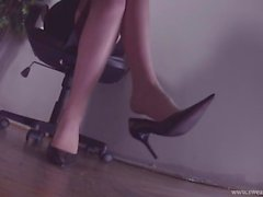 Office Dangling Shoeplay Feet in Nylons Worship at end