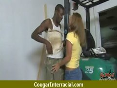 Cougar with Big Tits Seduces Young Black Guy 13