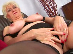 Aged blonde Janka with giant tits masturbating