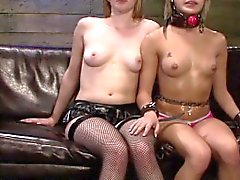 Lesbian teen strapon fucked by rough mistress