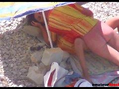 Beach voyeur sex with nudist couple