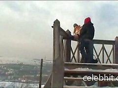 Public Lovers Making Love in Winter