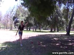 POVLife natural tits redhead girlfriend POV fucked outdoors