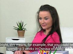 Female agent teaches amateur babe oral sex