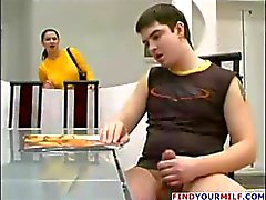 Cynical sexy mama with like honey bologna curtains gives him some assistance with his kielbasa