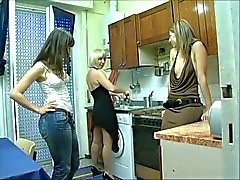 Three Italian Lesbians in Kitchen