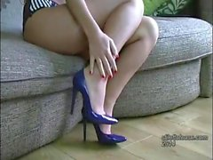 Pretty girl with long legs stiffens your fetish wearing sexy lingerie and high heels