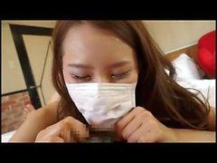 beautiful surgical masked japanese woman sucks dick under mask
