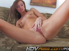 Hot Teen Lily Carter Masturbates On Couch