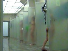 Hidden camera in the women's shower sports club.