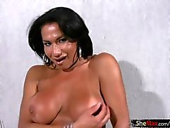 Mature tranny shows extremely big tits and jerks monstercock