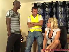 Frustrated workmen spit roast horny blonde office boss and cum in her slutty mouth