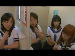 Naughty young Asian schoolgirl gets gangbanged in the classroom