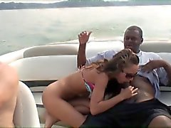 Mimi takes a black cock on a boat