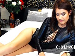 cutie in latex is getting ready for teasing and masturbating in front of the webcam with her favorite toys