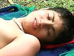 Steamy outdoor gay fuck of two sexy young latinos