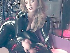 BDSM dominatrix allows pathetic sub to cum