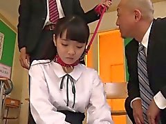 Japanese student Yui dominated and fucked by her teachers