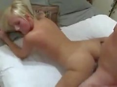 Hot blond and neighbour on bed