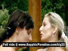 Sensual brunette and blonde lesbos licking and fingering pussy and having lesbo sex