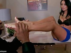 Anissa Kate enjoys hot footsex in the office