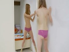 Striptease and posing for a mirror