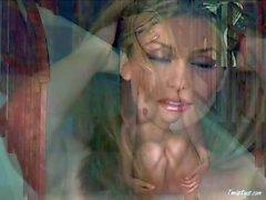 Stuning schätzchen Heather Vandeven darstellt nackt und reibt sich kahle in Pusy
