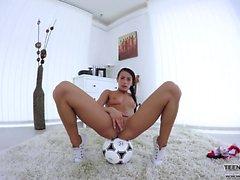 Teen football fan masturbates her tight pussy
