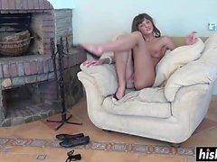 Sexiga Melena retar med fötterna