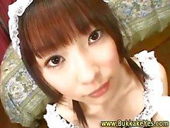 Japanese fetish maid hottie gets cumshots
