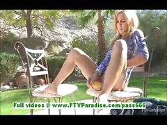 Ashley sensual blonde woman masturbating using zicchini and cucumber