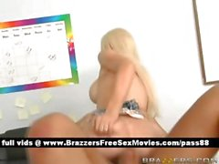 Young naked blonde schoolgirl on the desk gets her wet pussy fucked