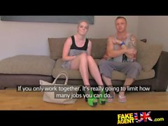 FakeAgentUK Threesome sex roulette on the casting couch