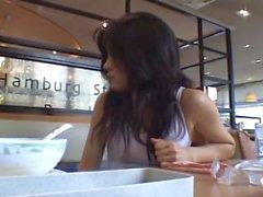 Amuro using a vibrator in a restaurant