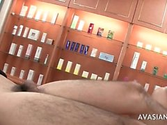 Busty japanese giving handjob and deepthroat