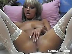 Mature MILF In White Stockings Masturbates