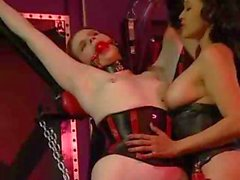 Cream-skinned slavegirl gets her tiny titties pegged and bitten