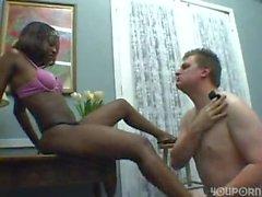 Ebony chick has white guy going wild for her feet