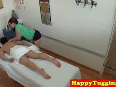 Asian masseuse wanks client on secret spycam