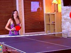 Wild! Teen girl beauties cum on ping pong table! Rilee Marks MaryJane