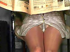 Pantyhose upskirt no panties