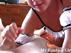 chloe on her knees giving a pov handjob