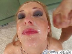 Cum For Cover It's five cocks for her and five cum facials