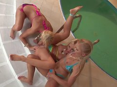 Three impressive blondes fuck hard by the pool