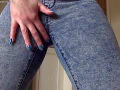 Jeans and panty pee