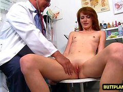 Redhead doctor gaping with cumshot