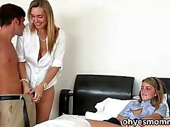 Stepmom teaches her girl with threesome